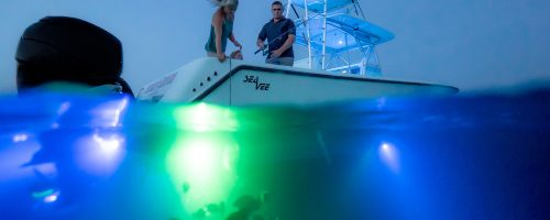 In water photo of boat using a blue and green led light